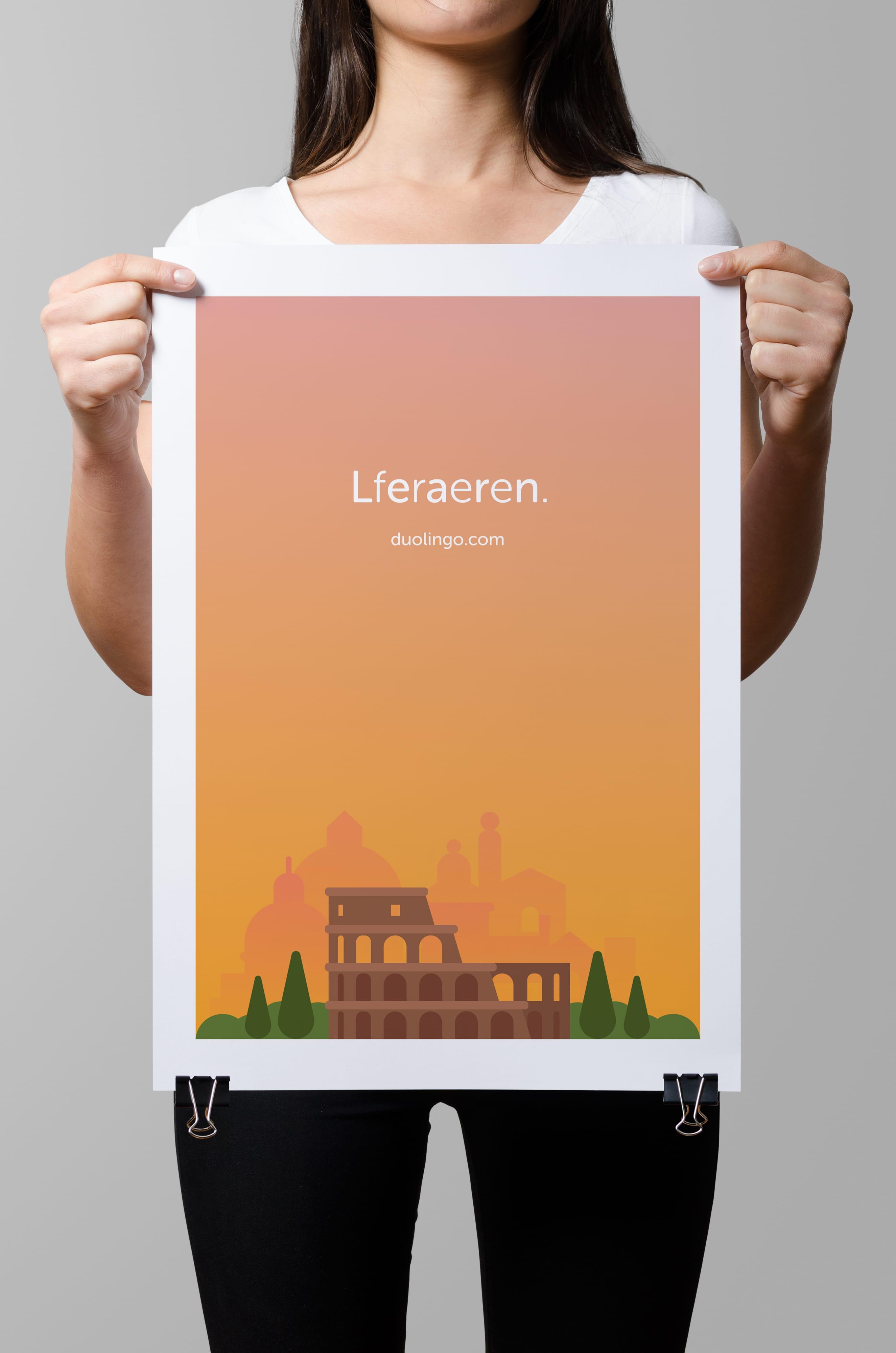 Duolingo Learn Free Propaganda Poster