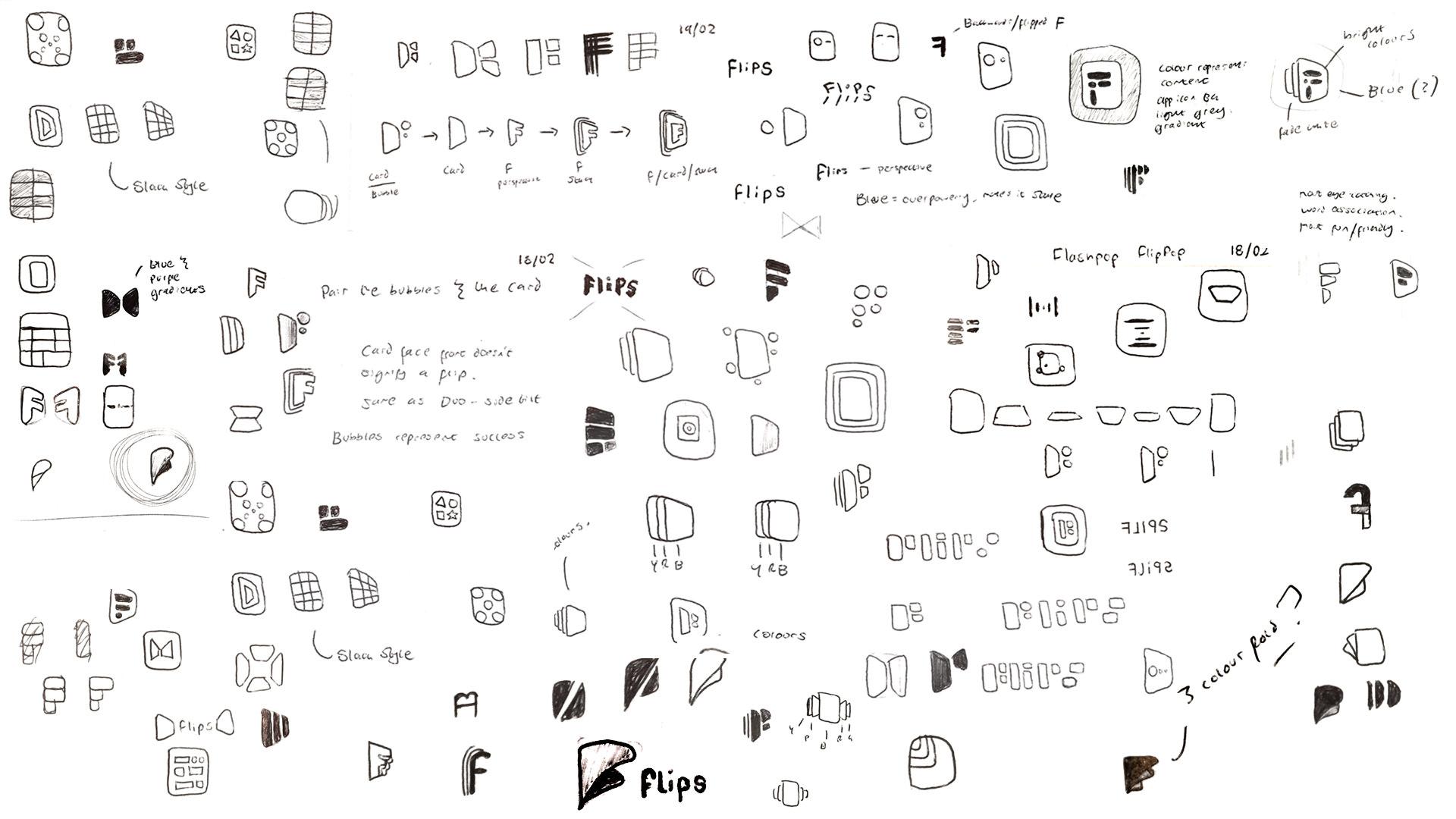 Duolingo Tinycards Flips Logo Sketches by Jack Morgan