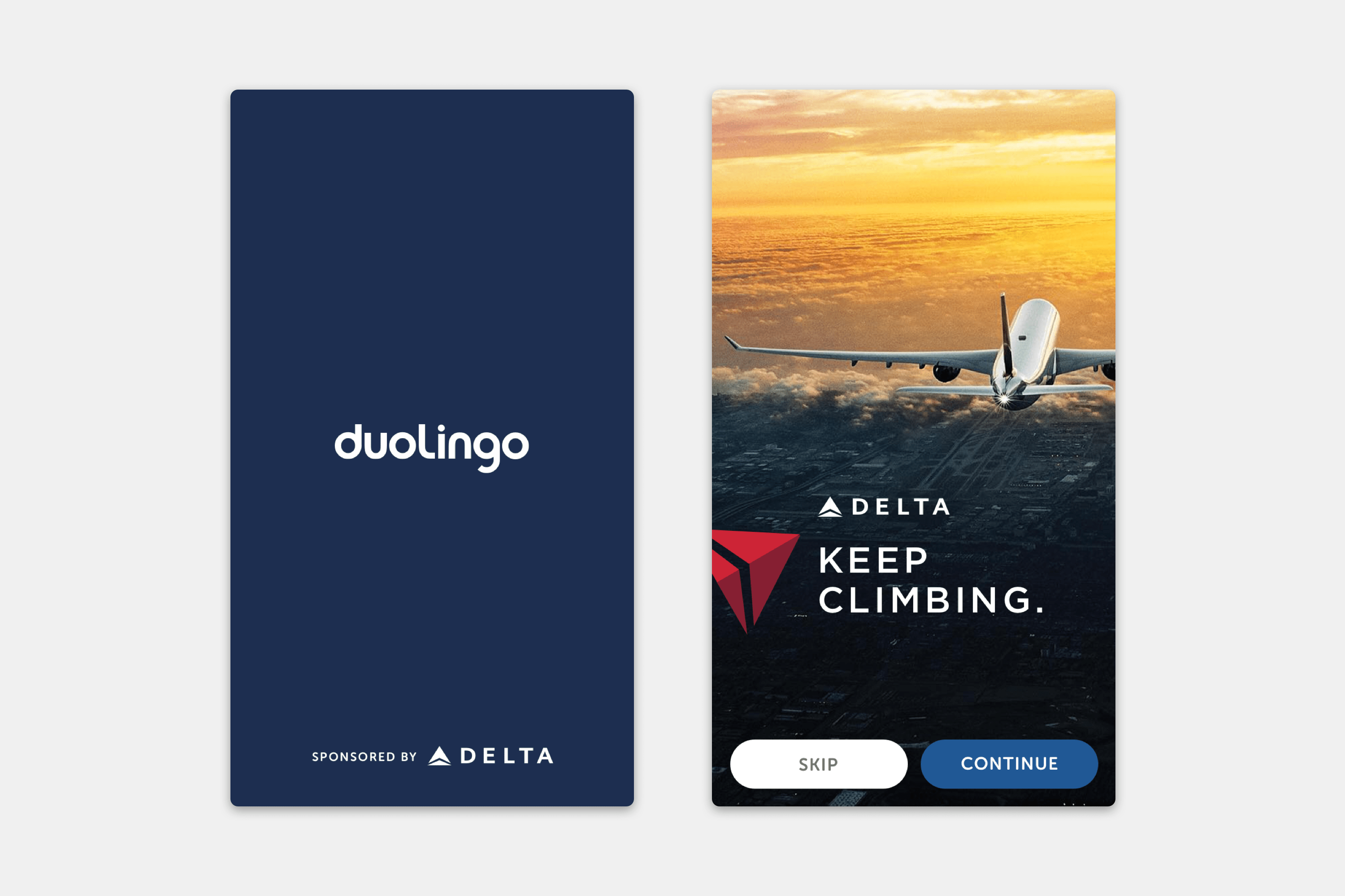 Duolingo Sponsorships - Delta Advertisement
