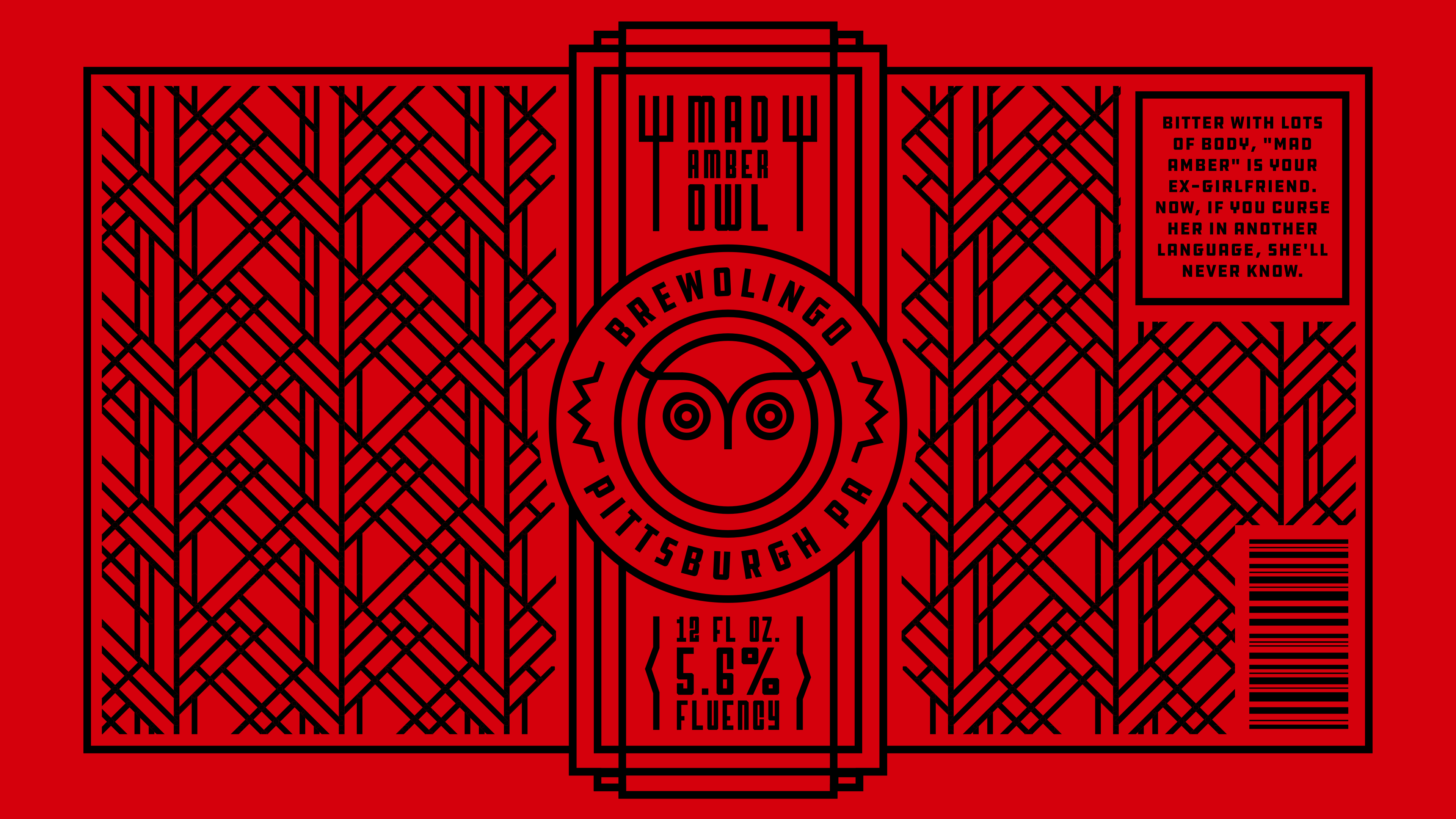 Brewolingo Mad Amber Owl Branding by Jack Morgan