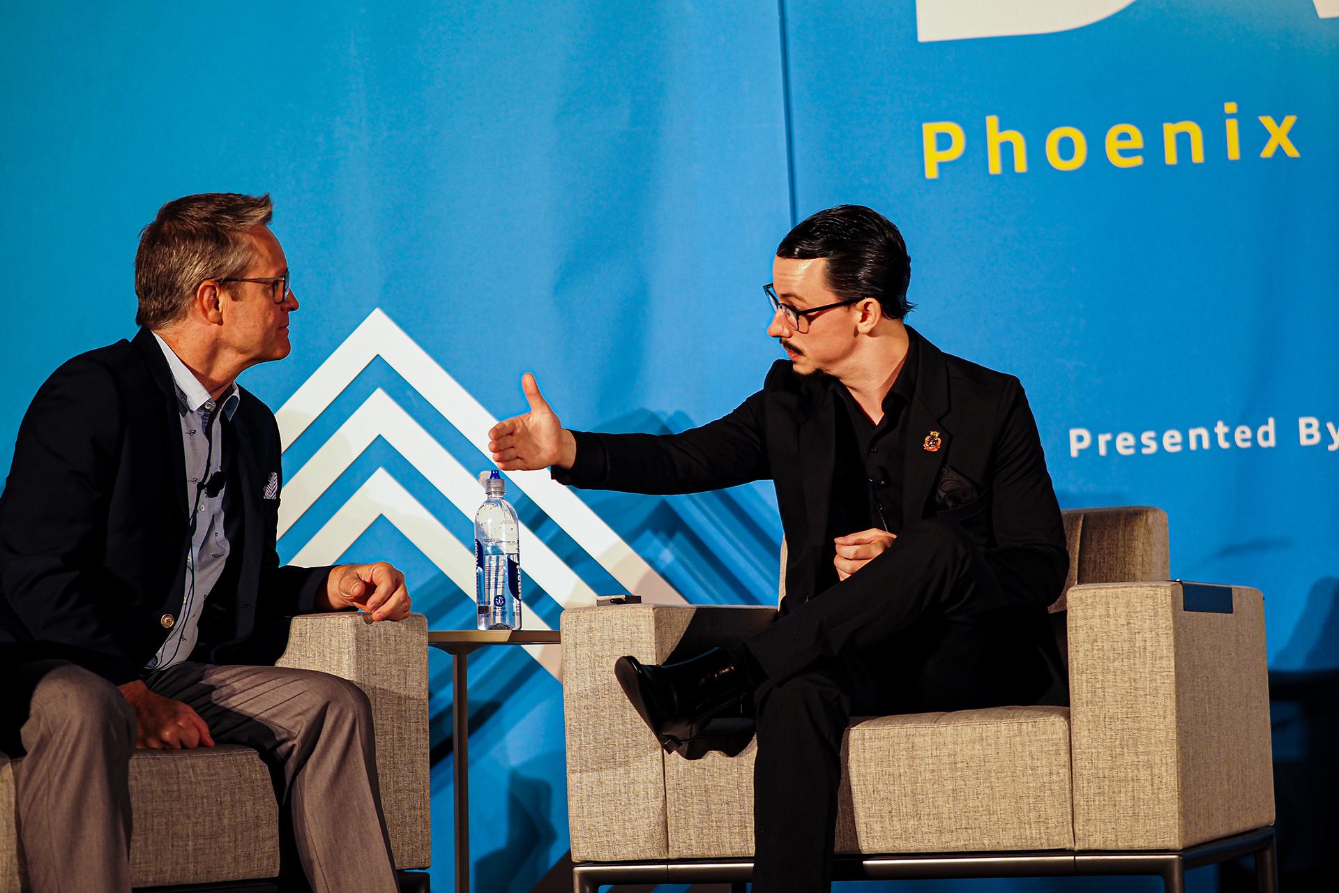 Jack Morgan being interviewed on-stage