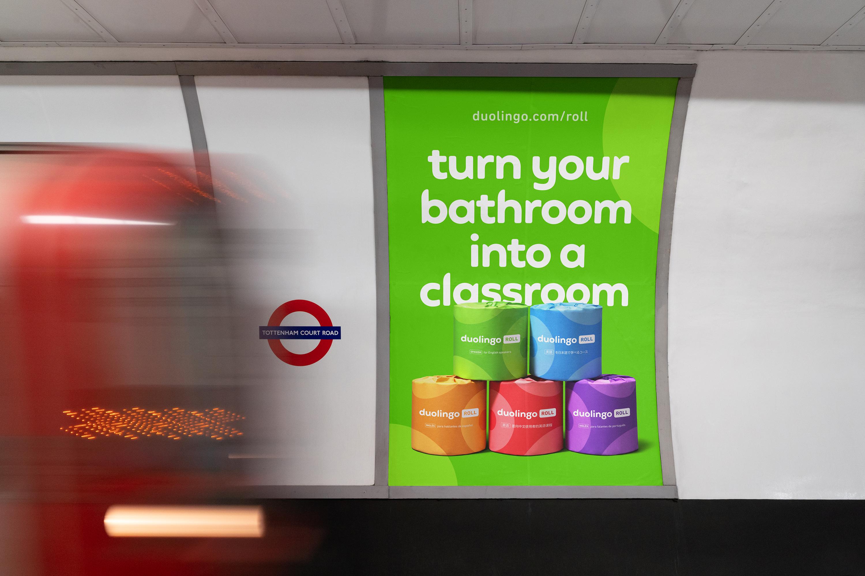 Duolingo Roll poster on the London Underground