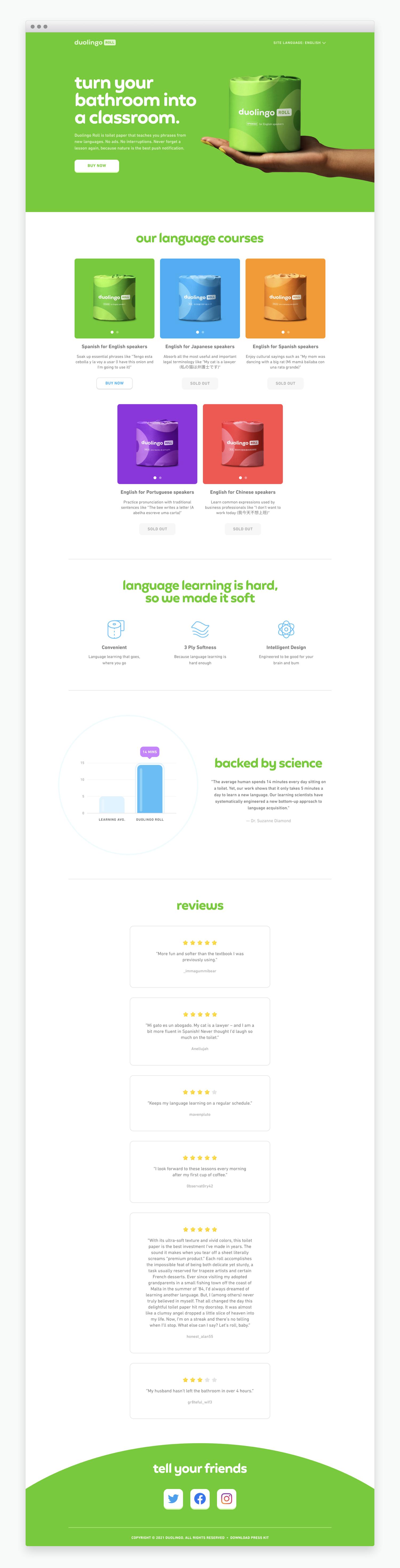 Duolingo Roll Website
